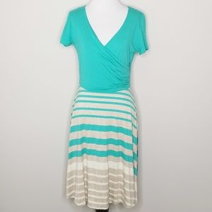 NWT Gilly | Joanna Teal Striped Dress | L